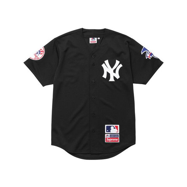 Supreme New York Yankees /Supreme/Majestic Baseball Jersey ($128) ❤ liked on Polyvore featuring tops, jersey knit tops, baseball top and jersey tops