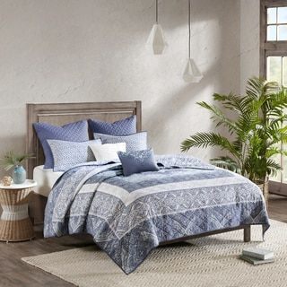 Shop for Urban Habitat Aria Blue 7-piece Cotton Reversible Coverlet Set. Get free shipping at Overstock.com - Your Online Fashion Bedding Outlet Store! Get 5% in rewards with Club O! - 25458902