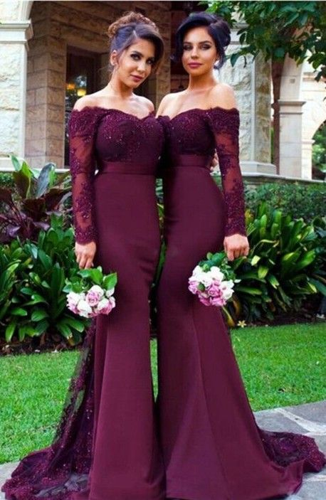Elegant Long Sleeves Off-the-shoulder Lace Appliques Mermaid Beads Bridesmaid Dress