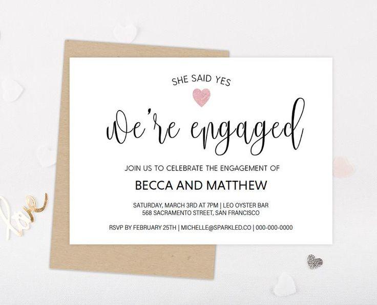 DIY Blush Pink Metallic Engagement Invitation Template