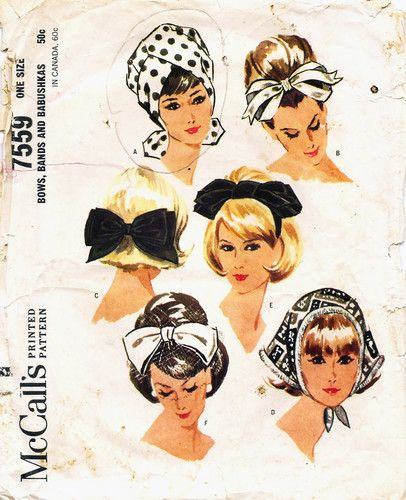 1960's hair bows, scarf and turban hats.
