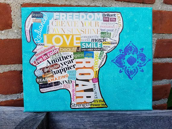 Women's Empowerment decoupage canvas, wordporn  Hey, I found this really awesome Etsy listing at https://www.etsy.com/listing/557365149/handmade-womens-empowerment-word-canvas