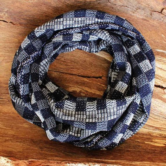 Plaid Scarf  Navy Infinity Scarf  Handwoven by ArtisansintheAndes