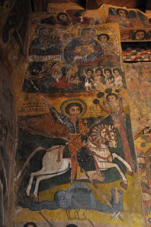 The interior of monolithic church Abraha Atsbeha is adorned with frescoes dated from the seventeenth century, most in excellent conditions, representing various saints and biblical scene
