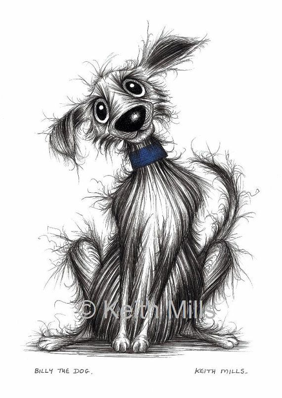 Billy the dog by Keith Mills. This is a print download which has been created from my original ink drawing. It is an instant download via Etsy which