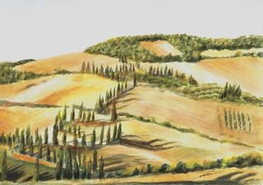 Golden Tuscany; original gouache painting by Maga Fabler. The famous cypress-lined road near Monticchiello (Val d'Orcia, Tuscany, Italy).