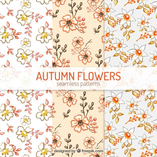 Free vector Watercolor patterns with autumnal flowers #22541
