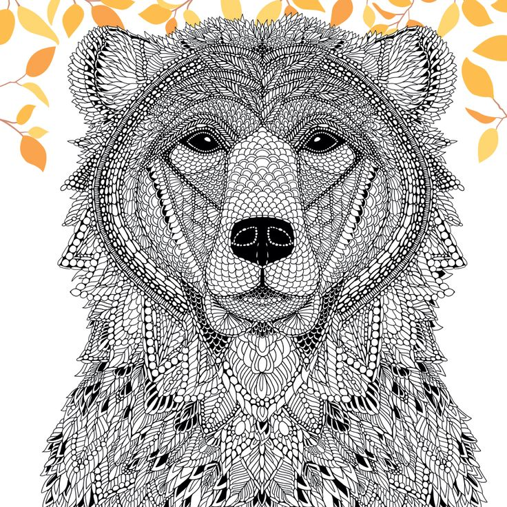 A Bear From The Menagerie Free Adult Coloring Page