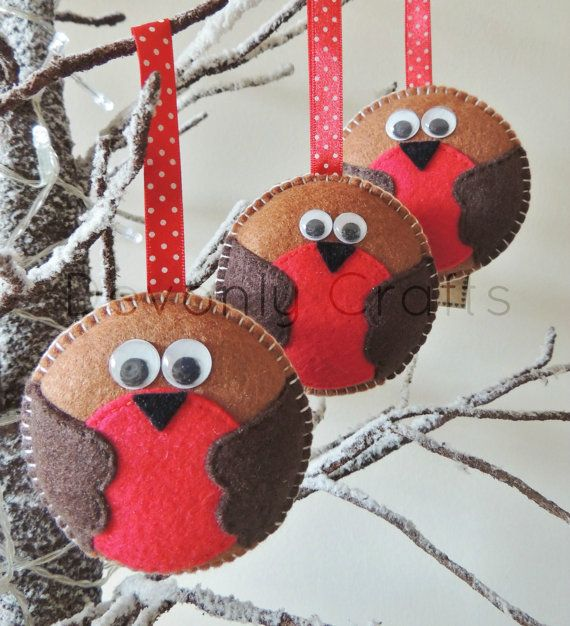 x3 Christmas Robin Felt Decorations by DevonlyCrafts on Etsy, £12.50