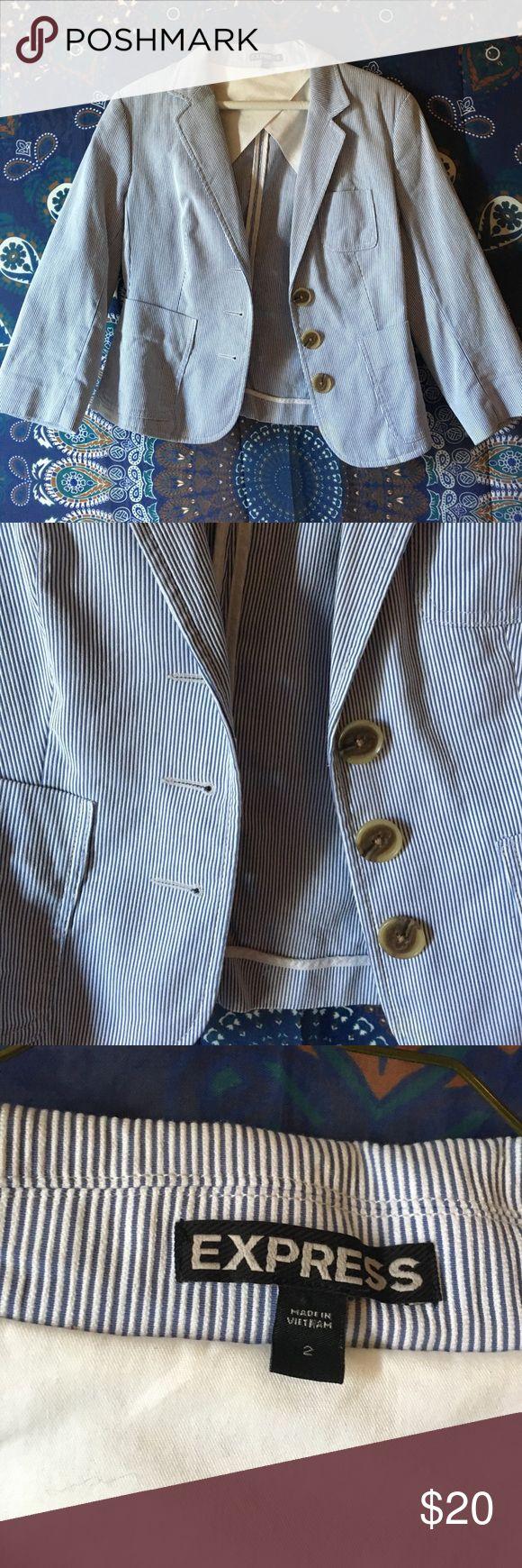 Seersucker blazer In great condition Express Jackets & Coats Blazers
