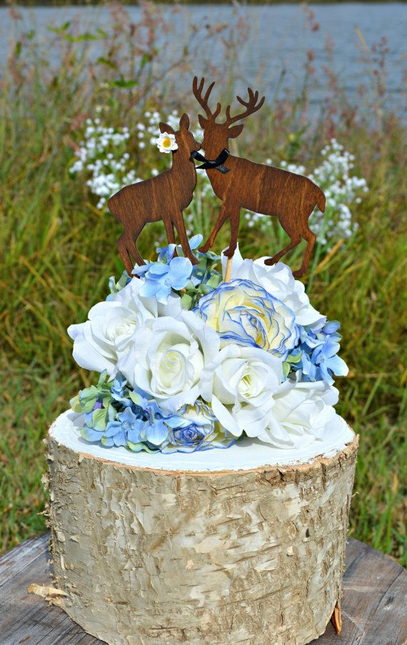 Buck and Doe rustic wood wedding cake topper,perfect for a country wedding!!!! This listing is for a bride and groom doe and buck wedding cake