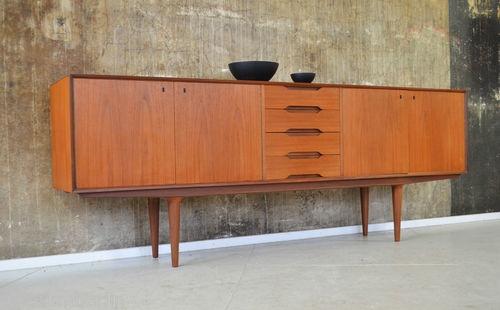 60er gustav bahus teak sideboard kommode 60s teakwood for Sideboard 50er