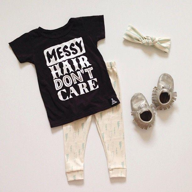 Baby outfit t-shirt leggings moccasins bow babyfashion babystyle