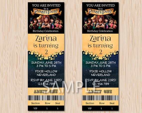 Pirate Fairy ersonalized VIP Pass Admit One by MaryAnnColors