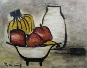 still life of bananas and apples in a bowl with jar to background