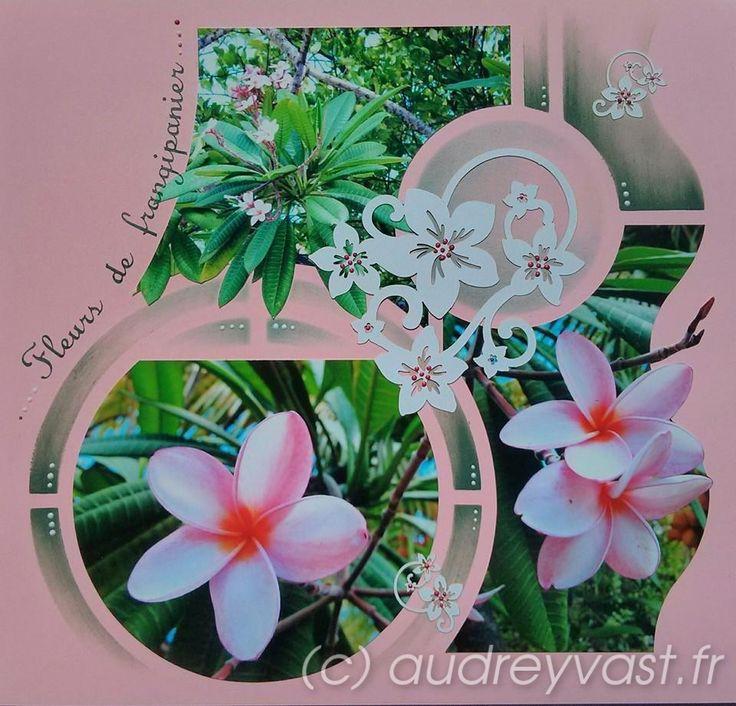 Fleurs exotiques avec le gabarit Londres, réalisées sur une page 25x25 de couleur rose, issue du set de pages Pinky (Azza kid's). Figurine géante fleurs de frangipanier ( sur l'azzaclub), quelques ...