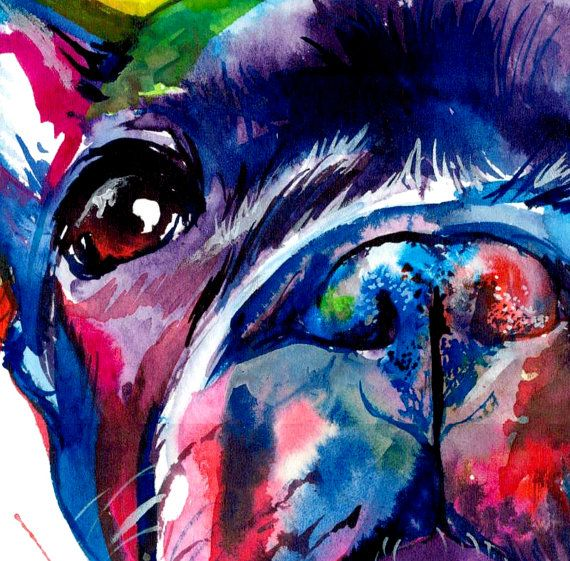 If you love Frenchies like I do, youll like this painting! This is a print of my original watercolor painting in bright and bold colors and some spatters. I love to paint in bright colors to bring out a pets personality.  Choose from 5x7, 8x10, 11x14 or 13x19 inch prints in portrait format.  This Archival Matte Paper features a smooth surface, heavy weight (230 g, 9.5-mil), neutral white, matte paper engineered for accurate color reproduction. This paper is acid-free making it the perfect…