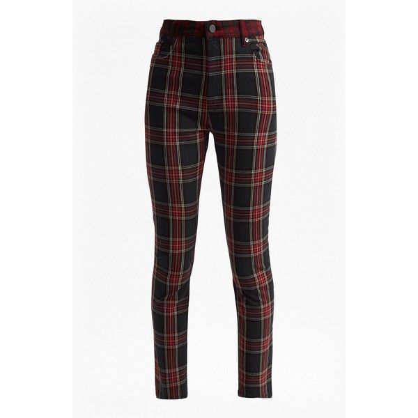 Tillie Tartan High Rise Denim Skinny Jeans ($138) ❤ liked on Polyvore featuring jeans, bottoms, high waisted white skinny jeans, stretch skinny jeans, high-waisted white jeans, high waisted skinny jeans and super skinny jeans