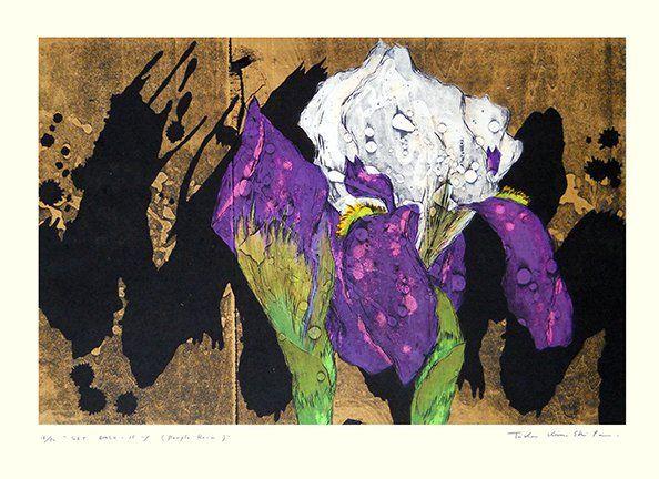 Artist: Taika Kinoshita. Keywords: flower floral modern contemporary style woodblock woodcut print picture hanga japan japanese orient oriental asia asian art readercollection.com iris