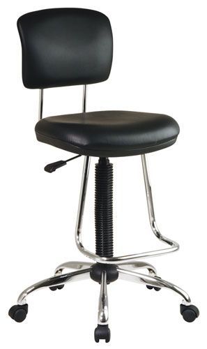 Look no further for comfortable and classy office furniture The Office Star chrome finish drafting chair features a thick padded vinyl seat and back