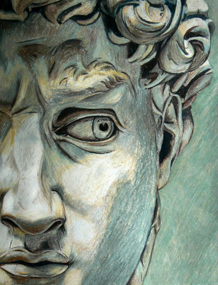 David, Michelangelo by ~dorranrj, not statue, but drawing. He looks afraid, alert or that somebody is standing behind him.