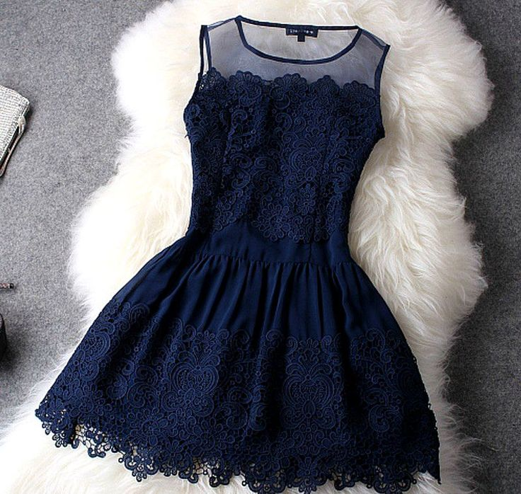 Fabulous Deep Blue Sleeveless Lace Dress
