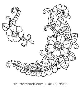 Set of Mehndi flower pattern for Henna drawing and tattoo. Decoration in ethnic … – mandalas