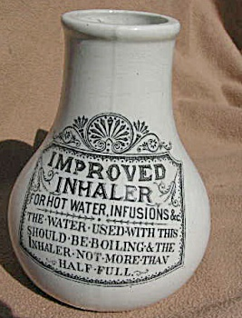 19th century nebulizer. Victorian Improved Inhaler for hot water infusions of medicine or herbs.