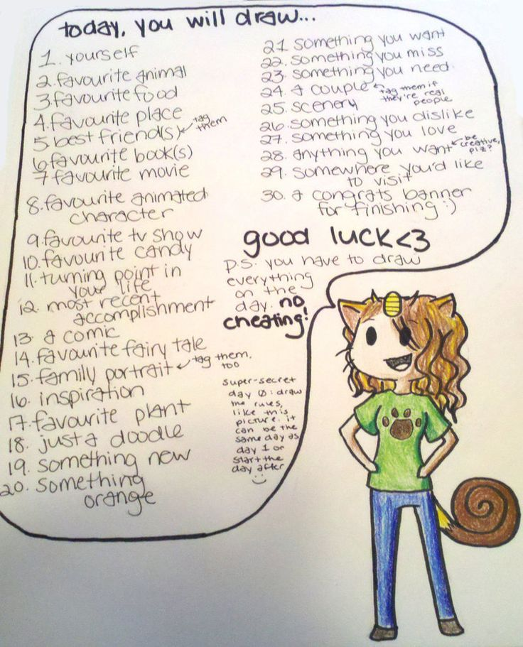 """30 day drawing challenge - For all those times she asks, """"What should I draw?"""""""