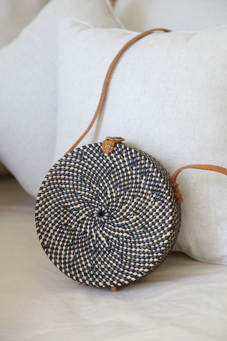 Leather Statement Clutch - black white mandala x by VIDA VIDA