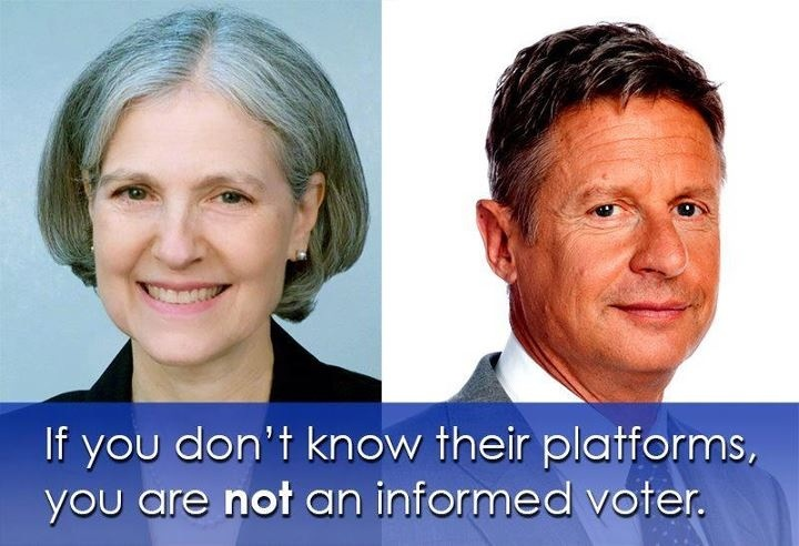Jill Stein of the Green Party and Gary Johnson of the Libertarian Party.