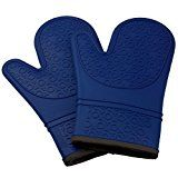 #2: Kuuk Silicone Oven Mitts/Gloves with Non-slip Grip (1 Pair) (Blue)