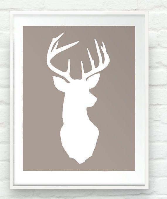 Deer Oh Deer - 17x20 inch Stag Head Antlers Silhouette Print Rustic Cabin Woodland Chic Wall Art
