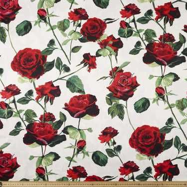 Red Roses Printed Cotton Sateen Ivory & Multicoloured