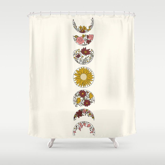 Floral Phases Of The Moon Shower Curtain By Nadja1 Cutegiftideas Gift Showercurtain Shower Curtains To Match Your Style In 2019 Shower Curtains Moon P