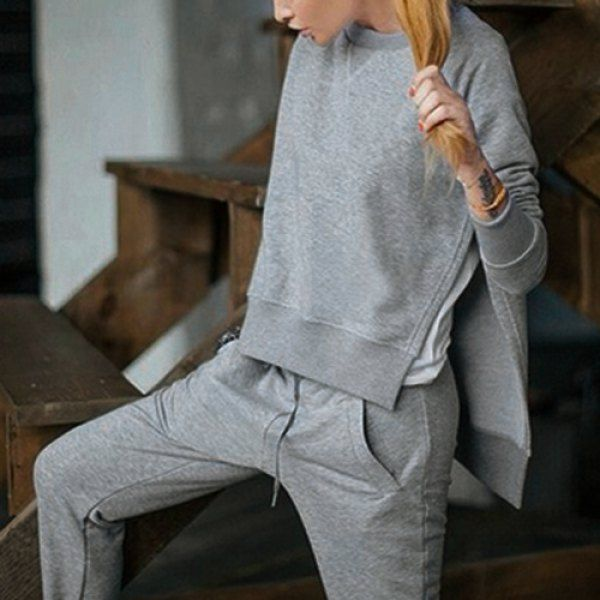 Casual Round Collar Long Sleeve High-Low Hem Gray Sweatshirt + Drawstring Pants Women's Twinset