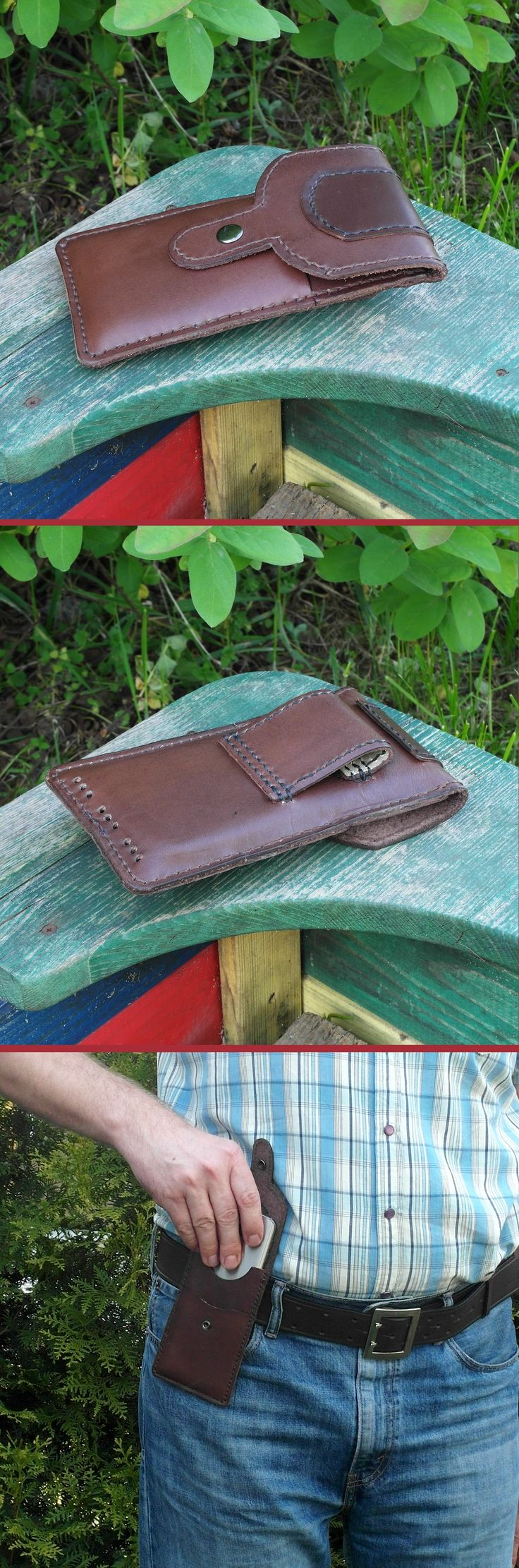 Handmade and hand stitched made of genuine leather - cowhide - belt pouch with card pocket for mobile phones