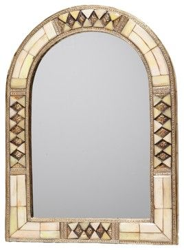 Moroccan Arched White Bone Mirror - Mediterranean - Mirrors ...