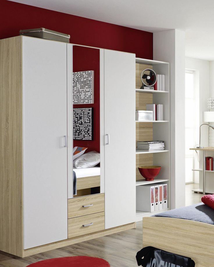 Unique PONCHO Kleiderschrank in Farbausf hrungen t rig m Spiegel wei