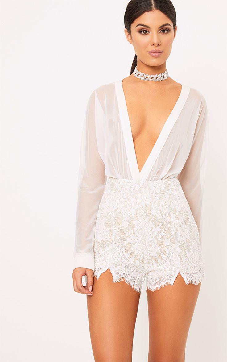Ellena White Lace Shorts