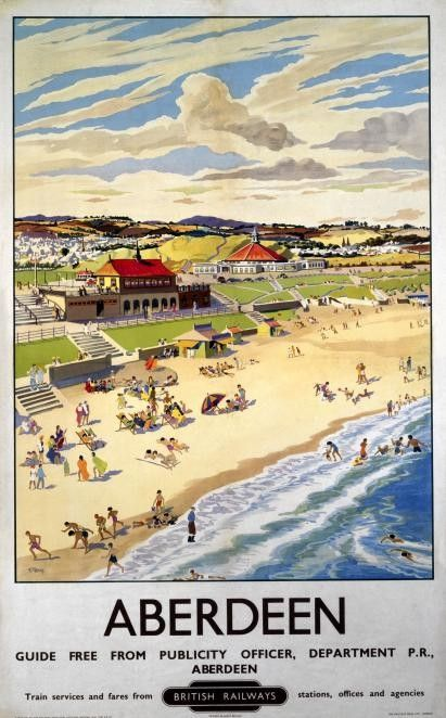 Aberdeen, Scotland. Railway Travel Poster, British Rail
