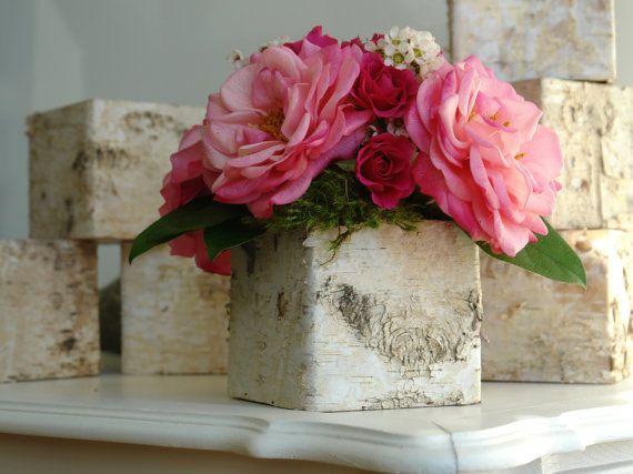 Birch Bark Vases Wood Boxes Floral Arrangement Square