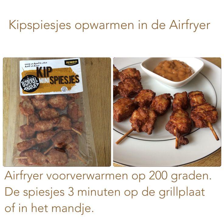 Kipspiesjes uit de Airfryer. 3 minuten, 200 graden. AK