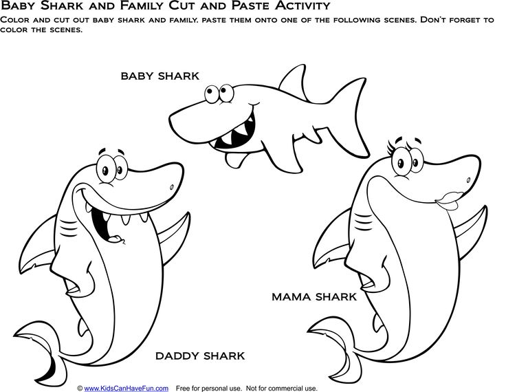 Baby Shark and Family Cut and Paste activity. Cut out the ...