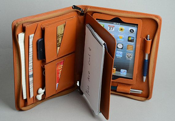Apple iPad mini Business Briefcase with Junior Notepad Holder and mini iPad Protect Frame and Phone Pockets