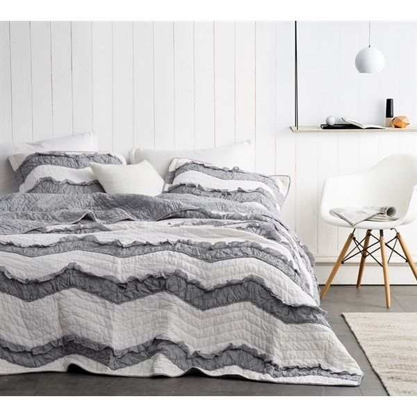 Byourbed BYB Two Tone Jet Stream/Alloy Grey Relaxin' Chevron Ruffles Quilt Set