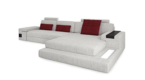 Ledercouch eckcouch  Leder Wohnlandschaft Sofa weiß / grau Couch Ecksofa Ledersofa ...