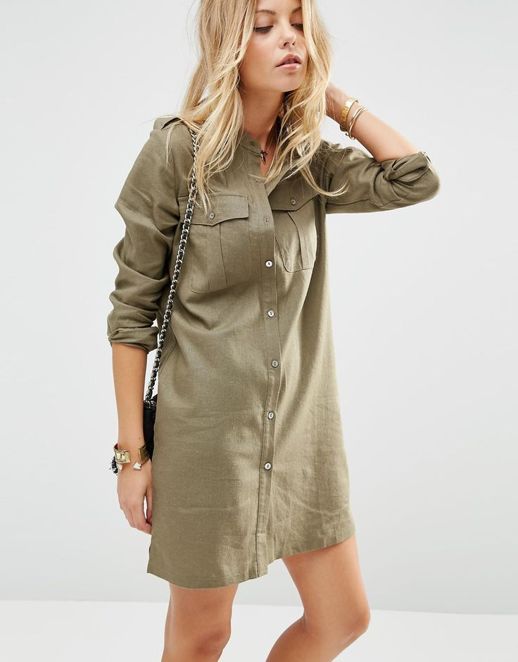 Image 1 of ASOS Linen Military Dress