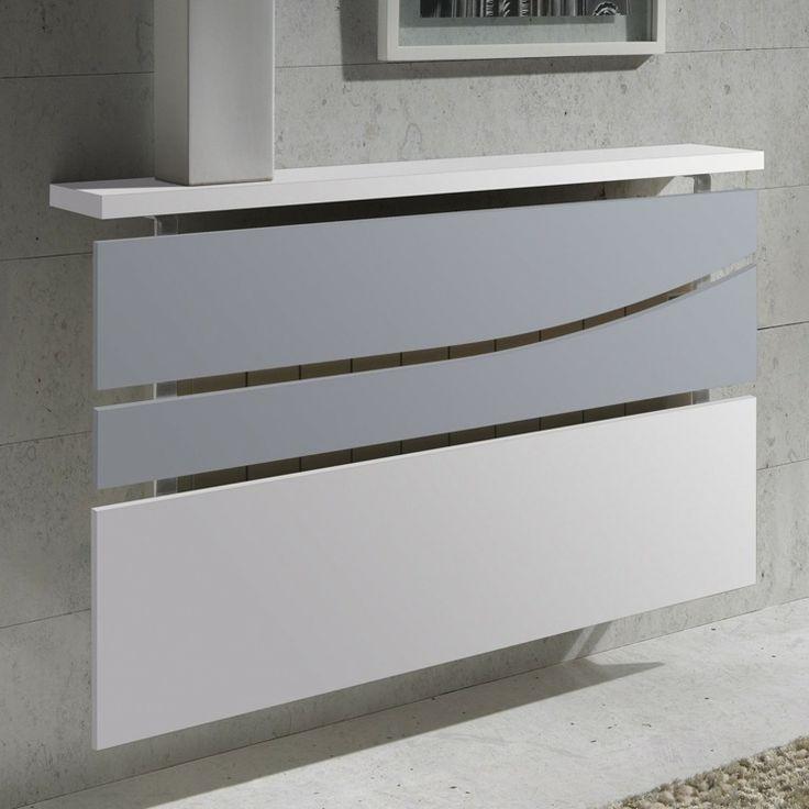cache radiateur design en métal blanc et verre dépoli