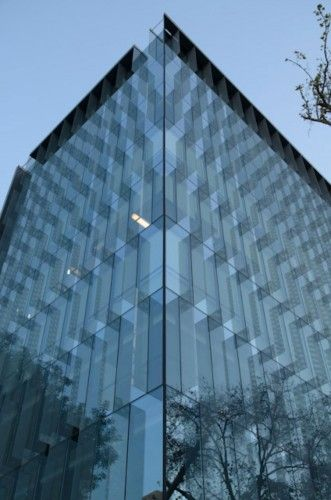 Curtain walls with glass mullion, reflections, transparency,
